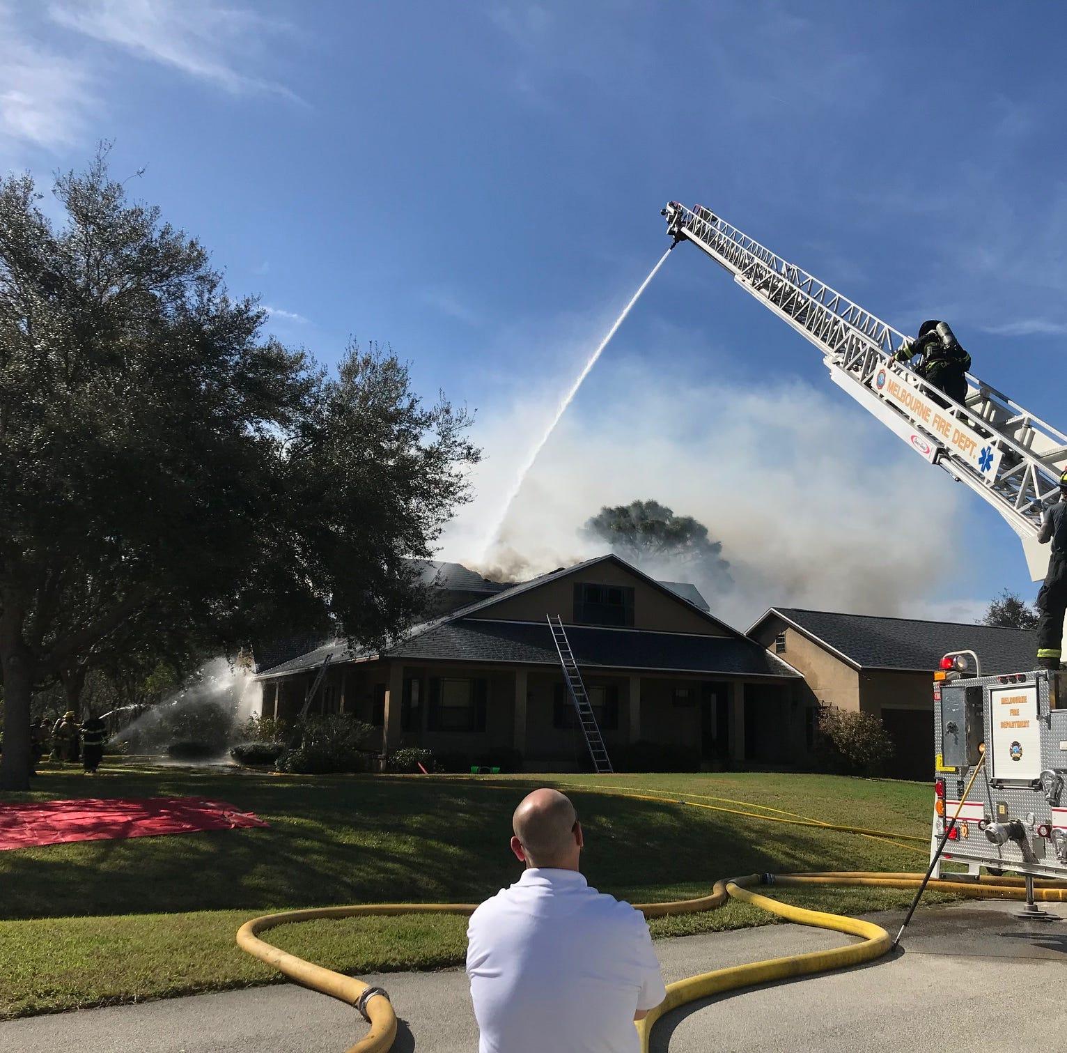 Fire crews battle Melbourne house fire