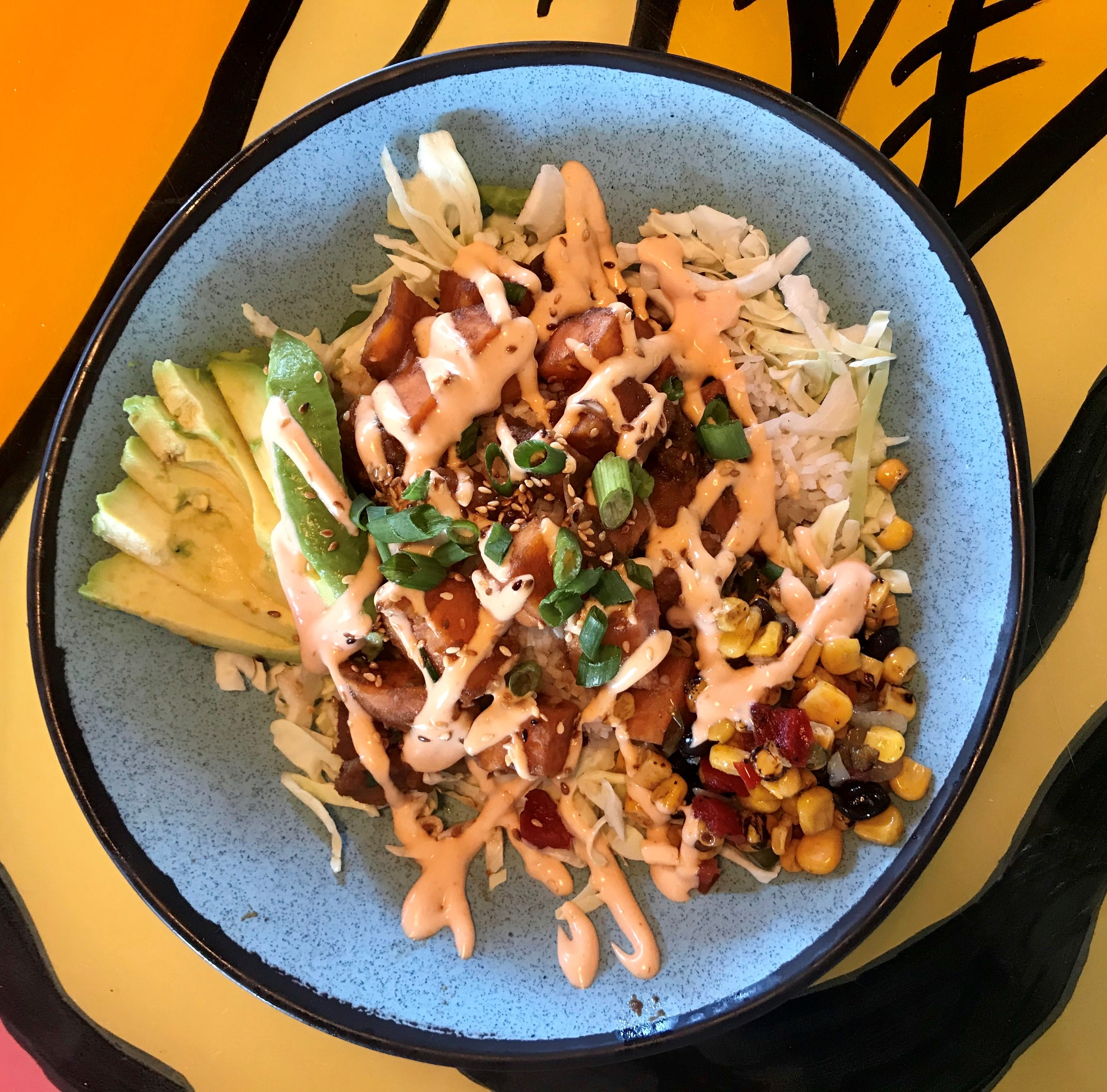 The sweet potato poke bowl is one of the meat-free options at the new 4th Street Fillin' Station in Cocoa Beach.