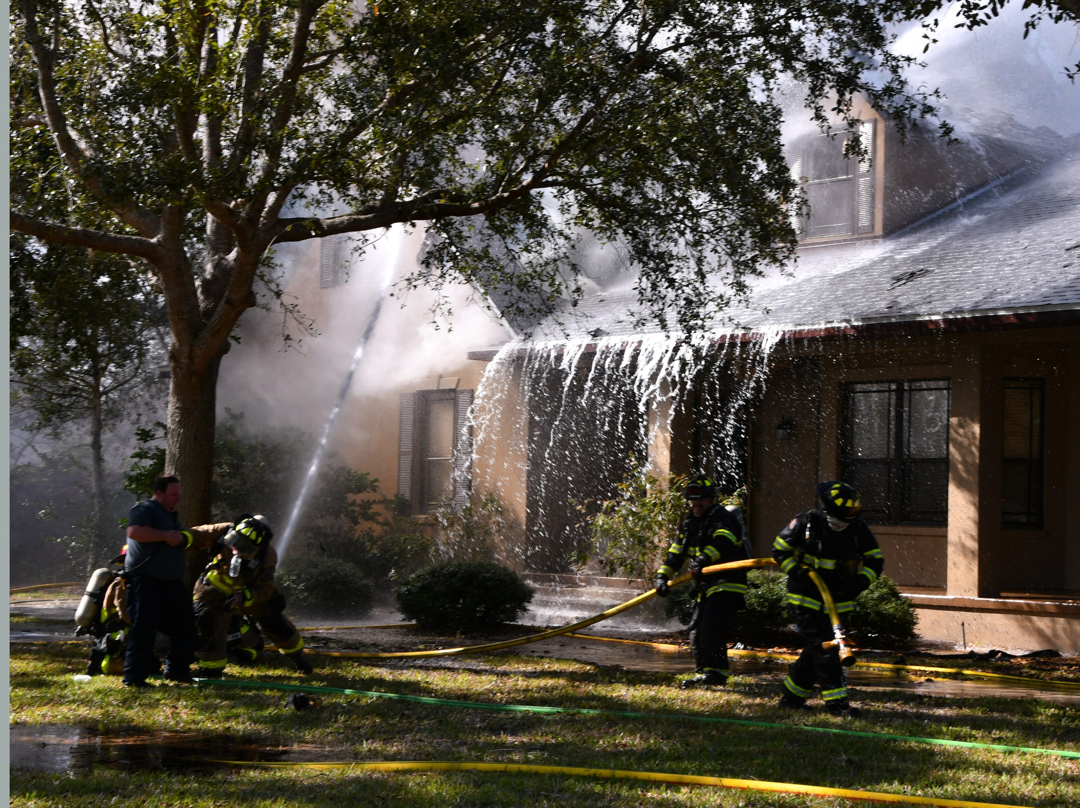 Brevard County and Melbourne firefighters responded to a full engulfed house fire on Ligustrum Drive in Windover Farms in Melbourne.