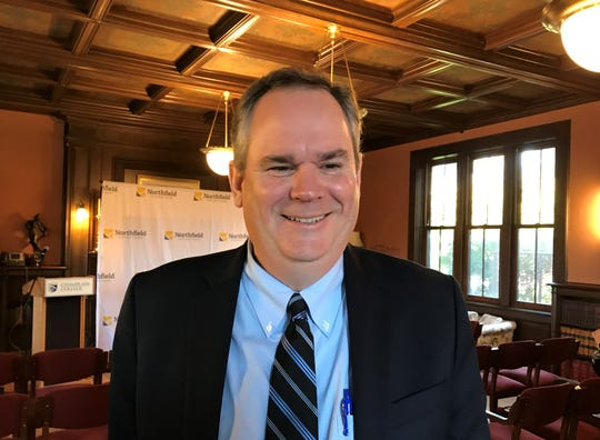 Secretary of Education Dan French seen at a Champlain College event in October  2018.