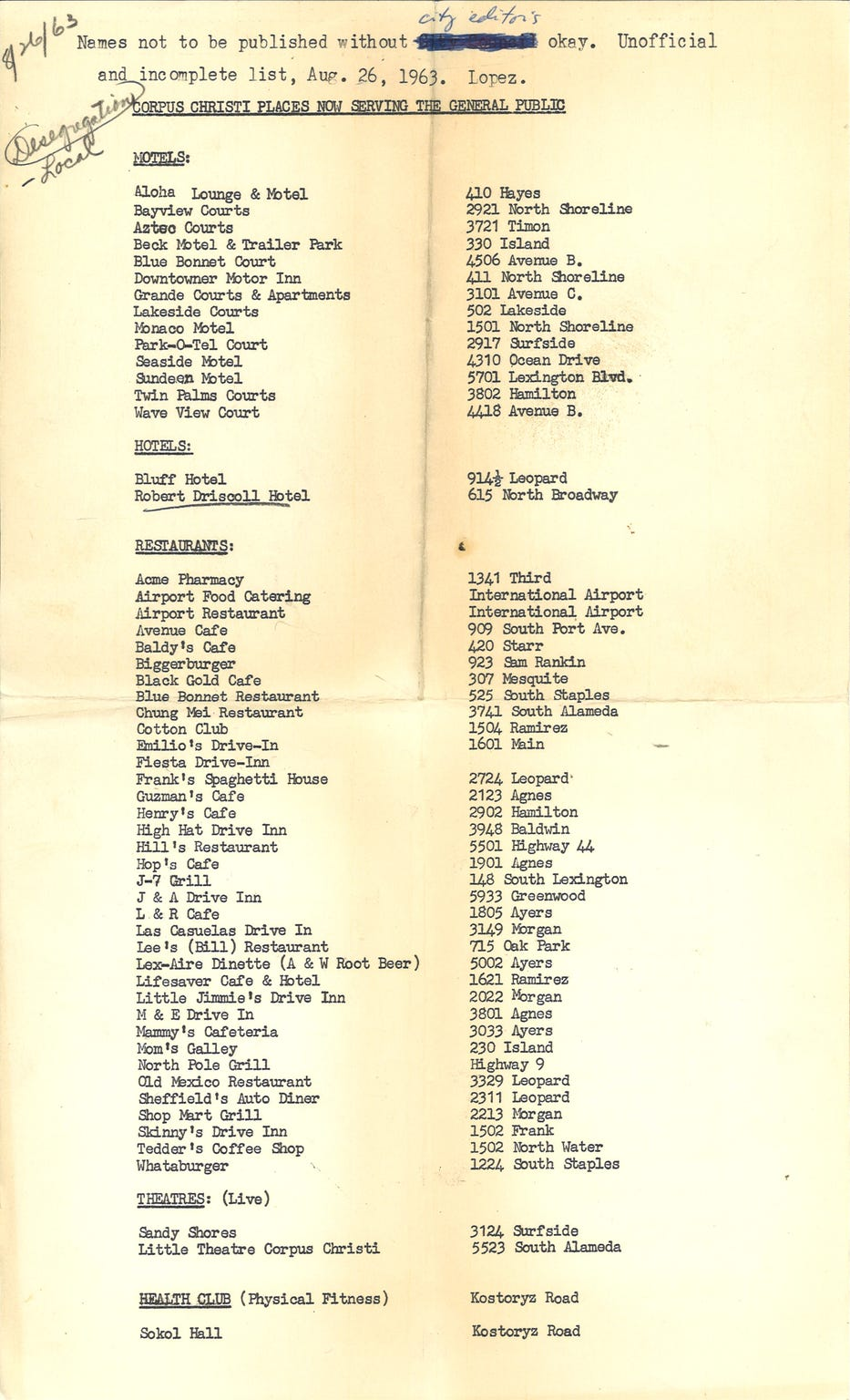 This 1963 list shows the names of desegregated businesses in Corpus Christi.