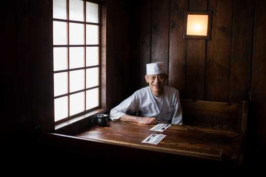 Shigeru Fukuyoshi poses inside his restaurant Sagami Wednesday, Feb. 13, 2019 in Collingswood, N.J.