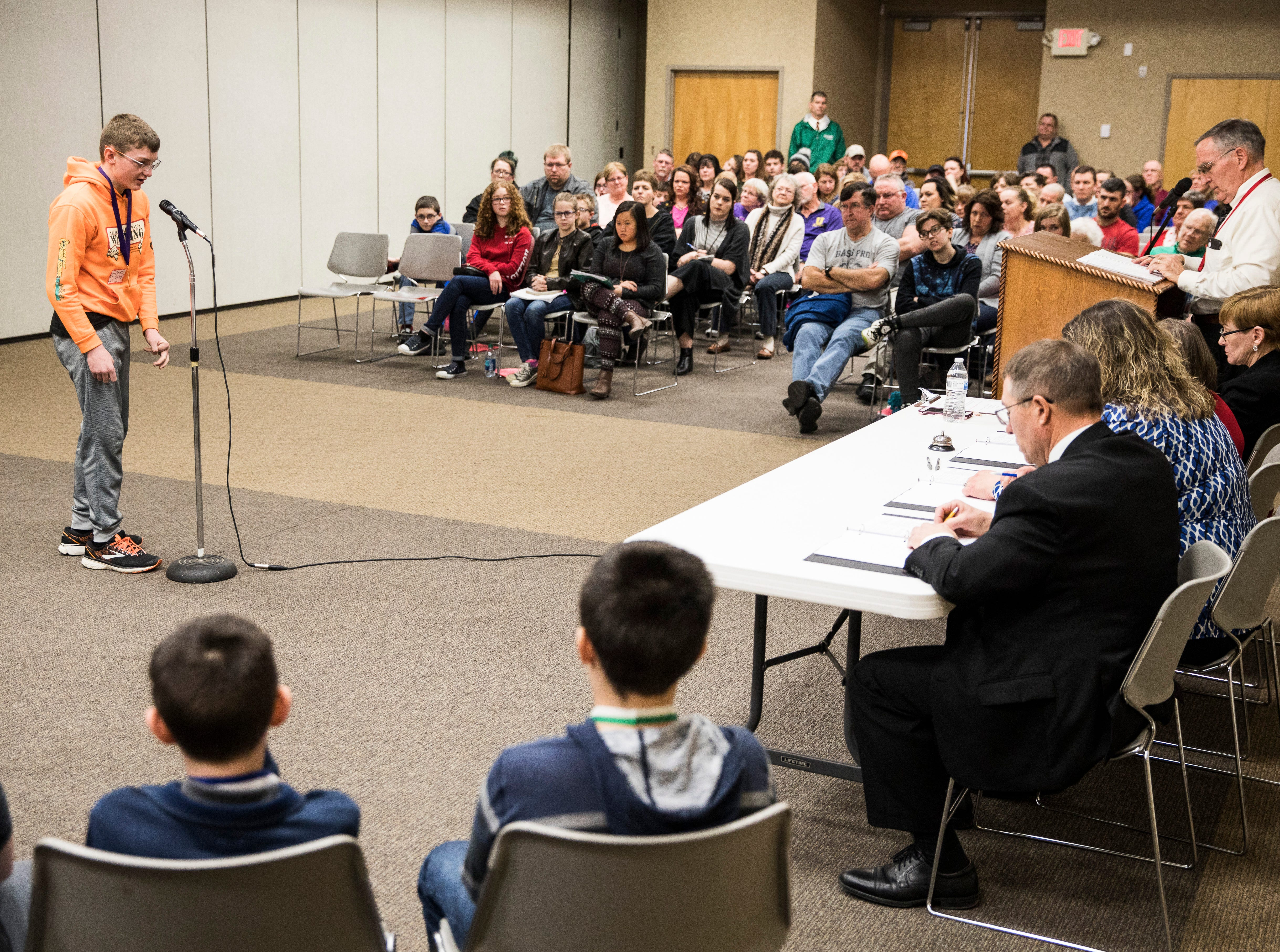 Unioto seventh-grader Griffin Sams competes in the second round of the 2019 Ross County Spelling Bee Thursday afternoon in Chillicothe.