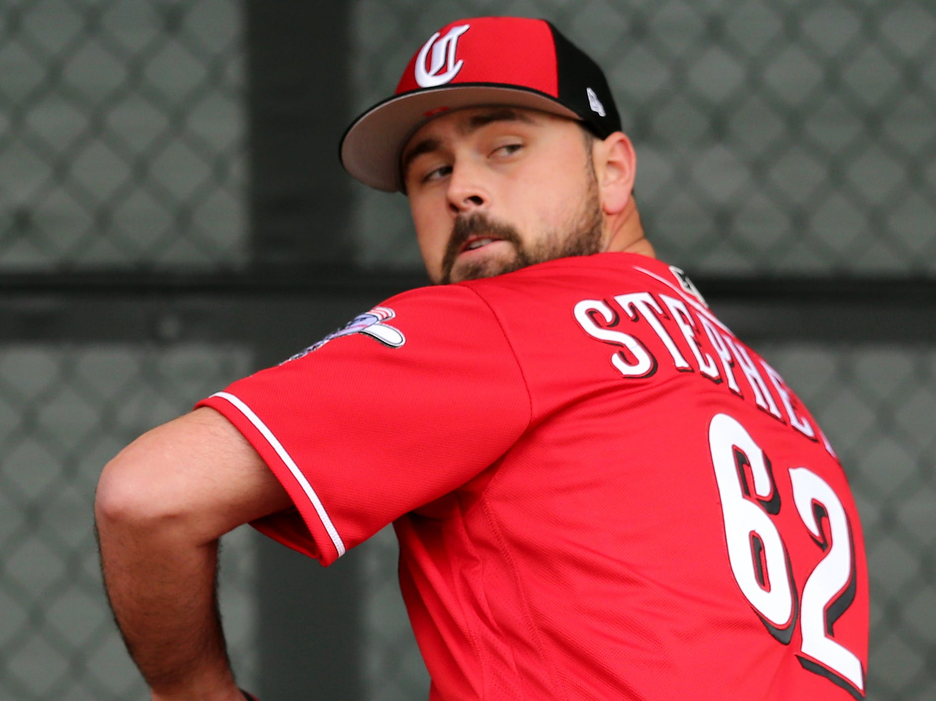 Cincinnati Reds relief pitcher Jackson Stephens (62) delivers during a bullpen session, Thursday, Feb. 14, 2019, at the Cincinnati Reds spring training facility in Goodyear, Arizona.