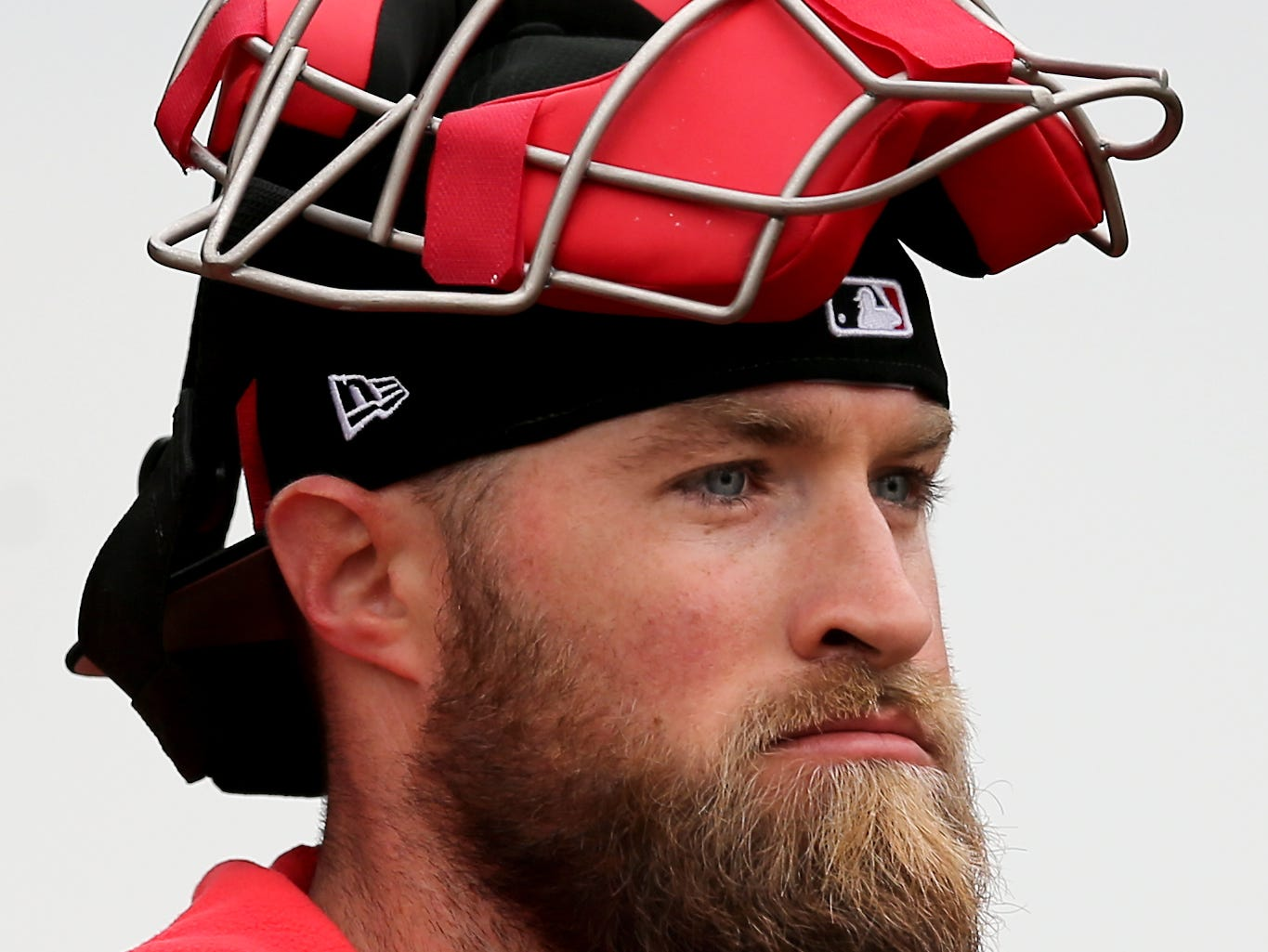 Cincinnati Reds catcher Tucker Barnhart (16) walks friom the bullpen, Thursday, Feb. 14, 2019, at the Cincinnati Reds spring training facility in Goodyear, Arizona.