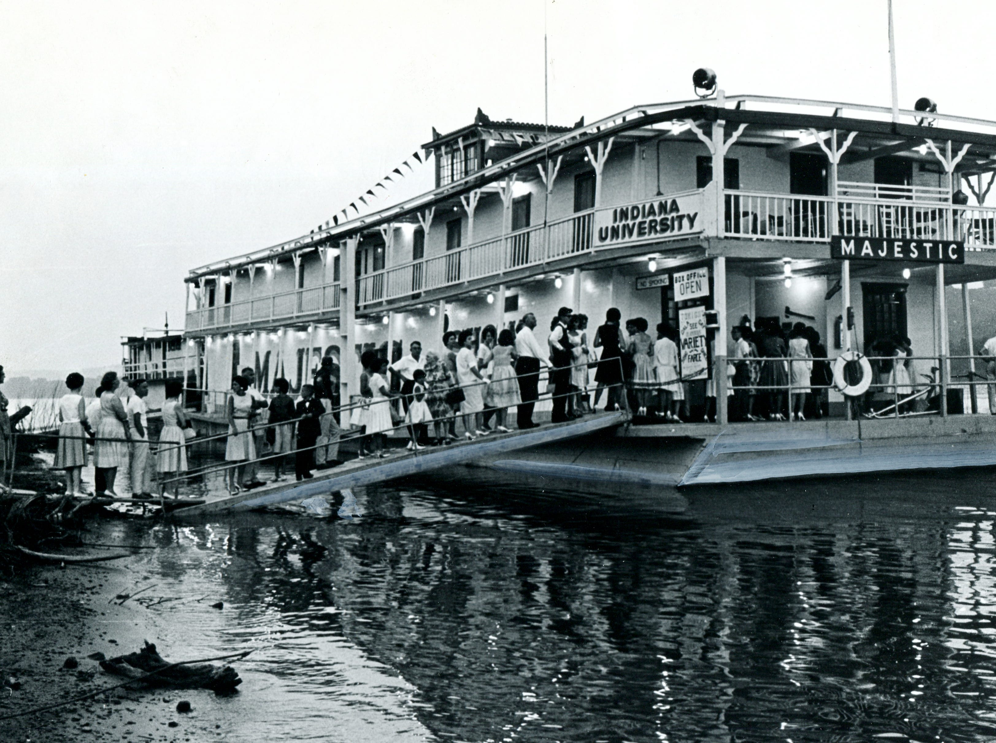 The Showboat Majestic when it was docked at Jeffersonville, Indiana. The showboat was purchased by the City of Cincinnati from Indiana University in 1967.