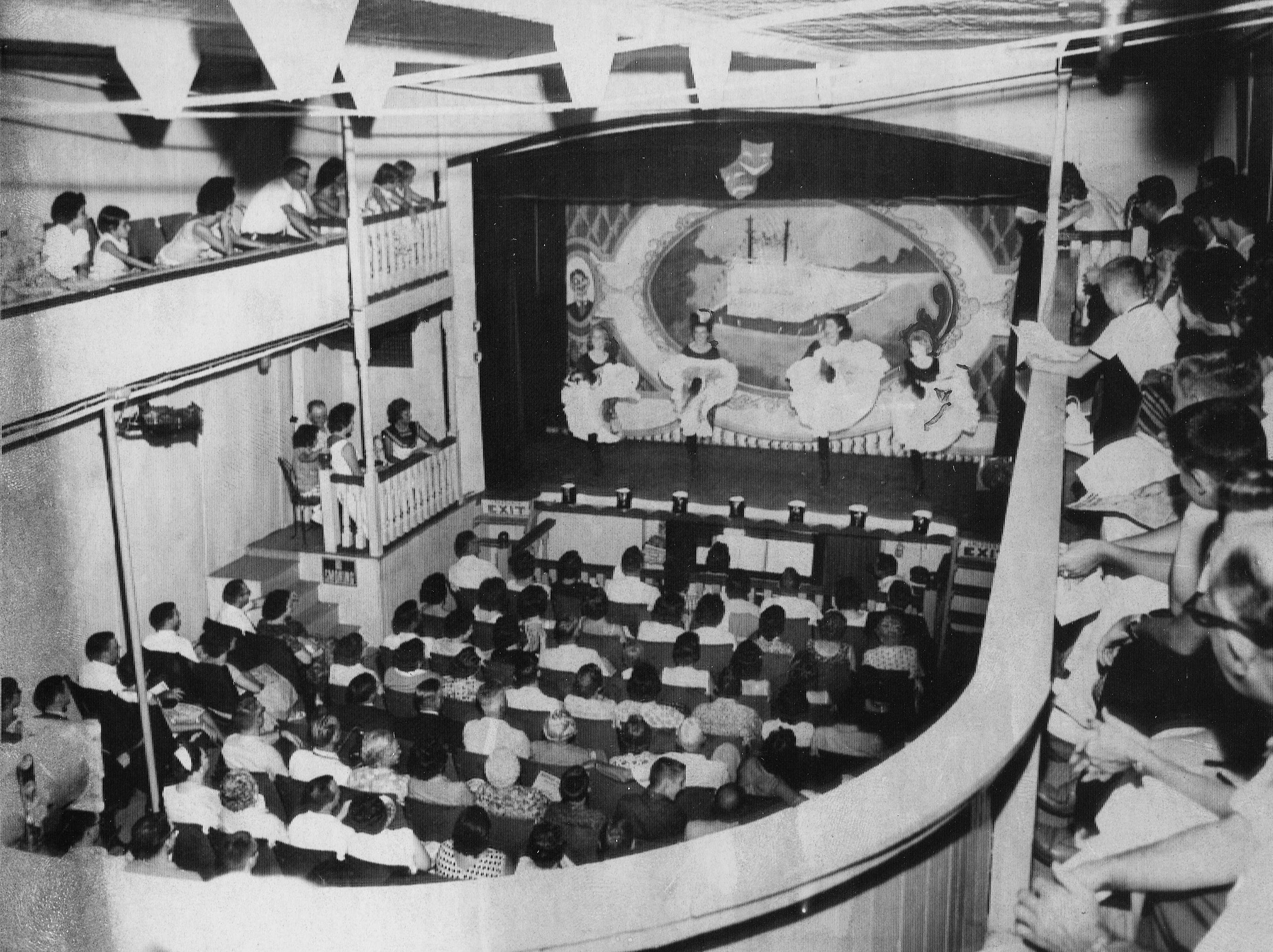 Chorus Line performs before a sellout crowd on the floating Indiana University Student Thearte, Riverboat Majestic in 1967.