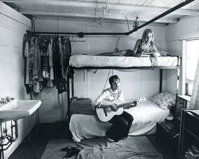 Cast members in a dressing room on the Showboat Majestic in 1970.