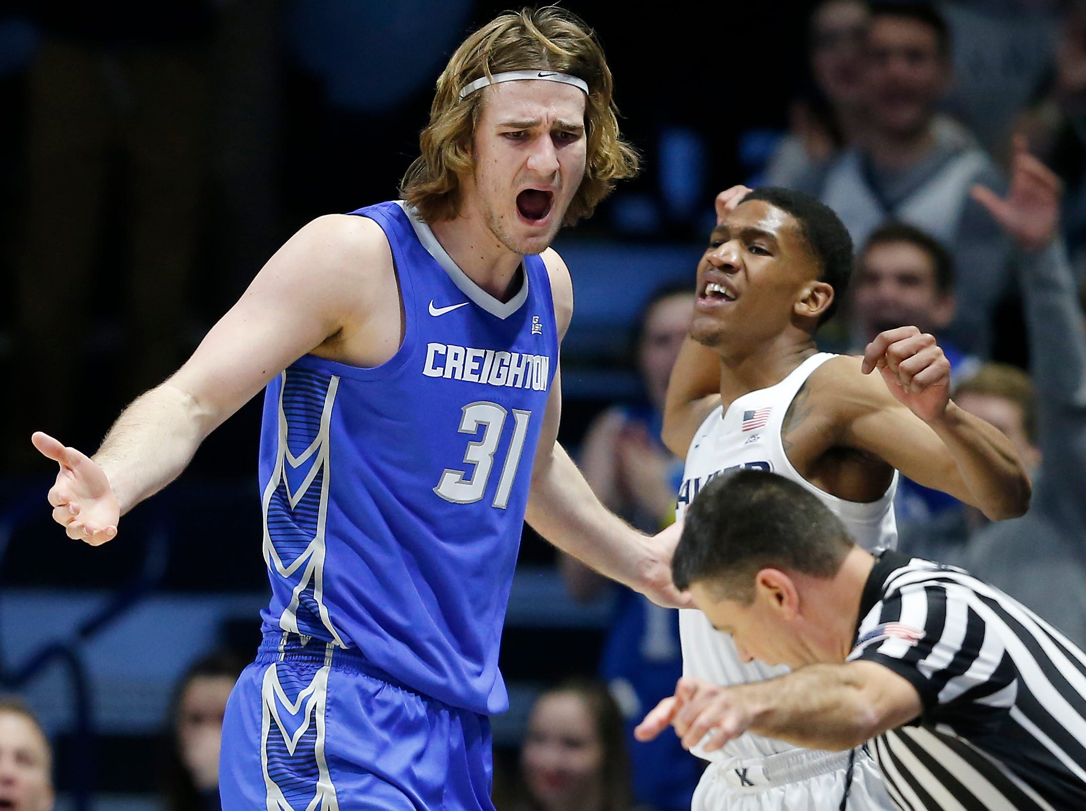 Creighton Bluejays center Samson Froling (31) reacts after an out of bounds ball is turned over to Xavier in the second half of the NCAA Big East Conference basketball game between the Xavier Musketeers and the Creighton Bluejays at Xavier's Cintas Center in Cincinnati on Thursday, Feb. 14, 2019. Xavier broke a 6-game losing streak with a 64-61 overtime win over Creighton.