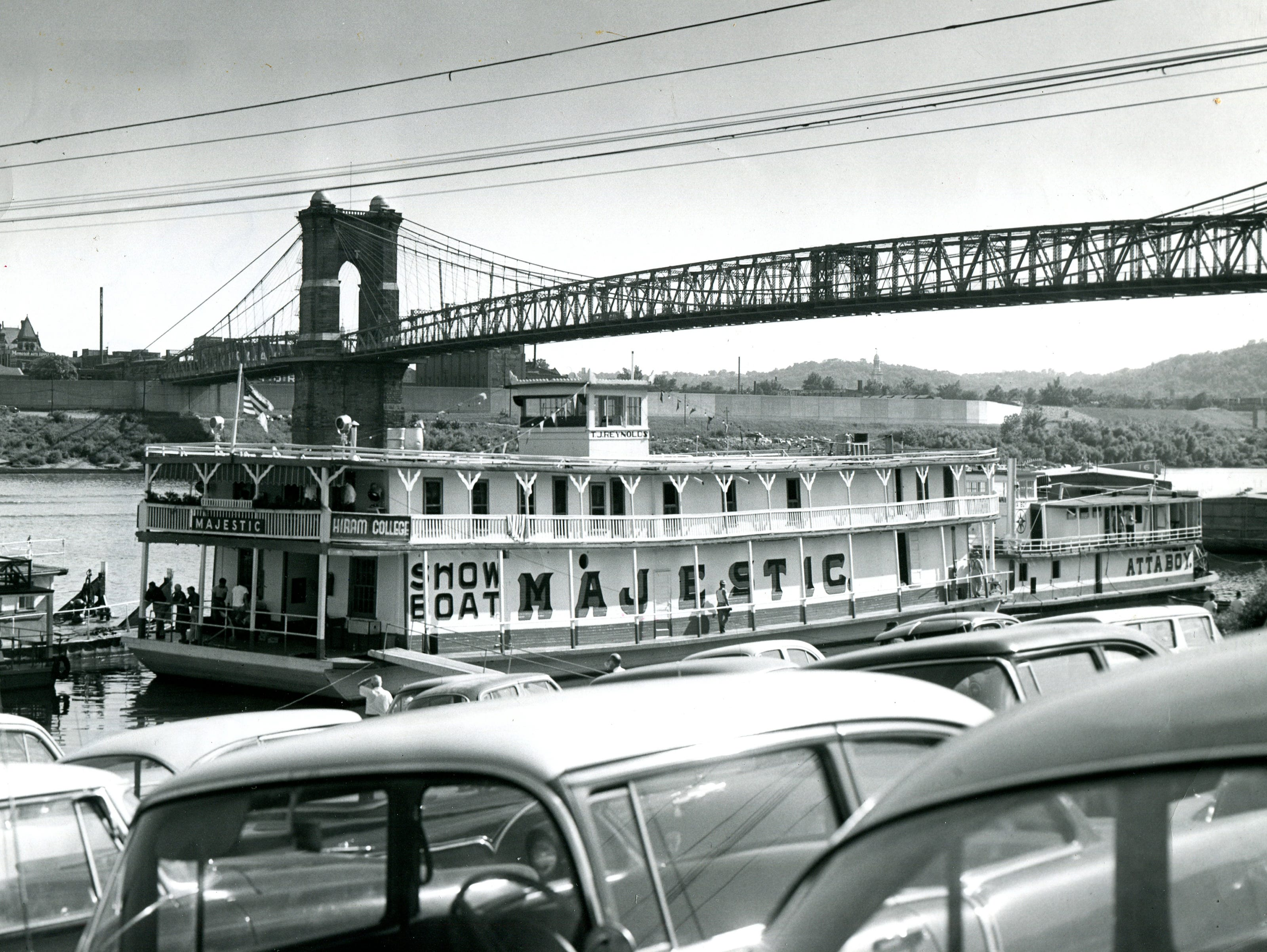 The Showboat Majestic docked at the Cincinnati riverfront in 1957.