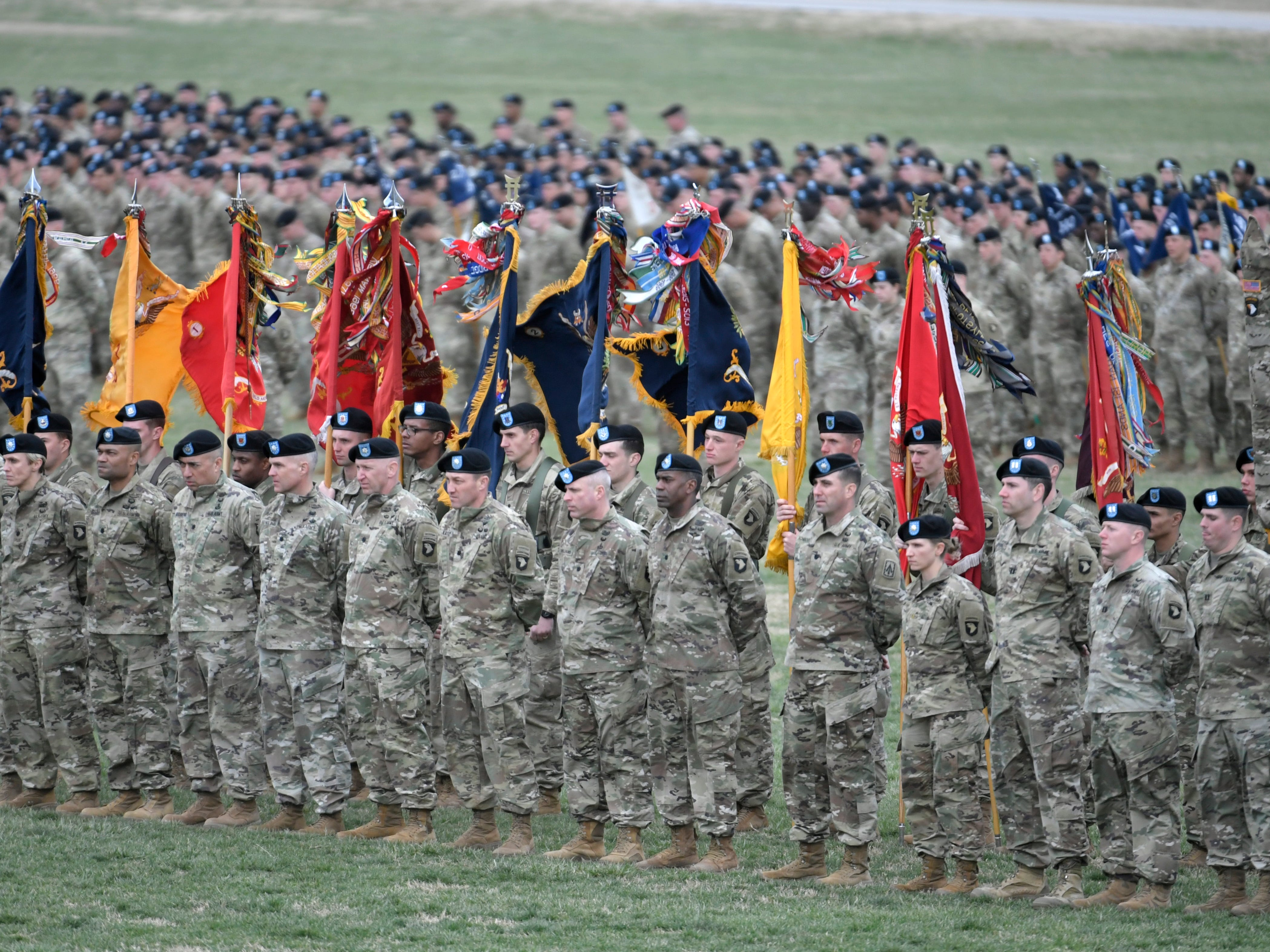 Troops stand in formation during a 101st Airborne Division (Air Assault) and Fort Campbell Division Change of Command ceremony in Fort Campbell, KY on Thursday, Feb. 14, 2019.
