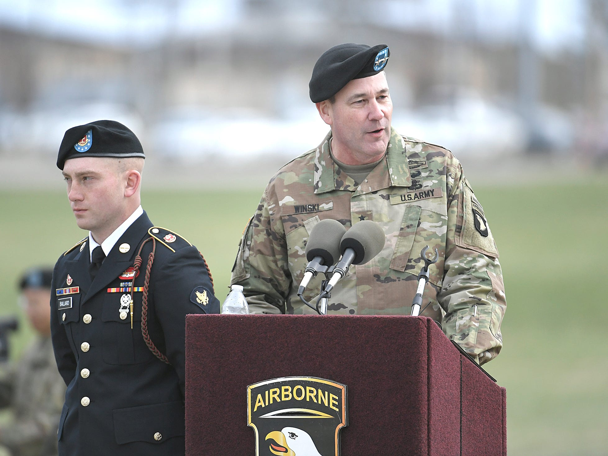 Maj. Gen. Brian Winski speaks during a 101st Airborne Division (Air Assault) and Fort Campbell Division Change of Command ceremony in Fort Campbell, KY on Thursday, Feb. 14, 2019.