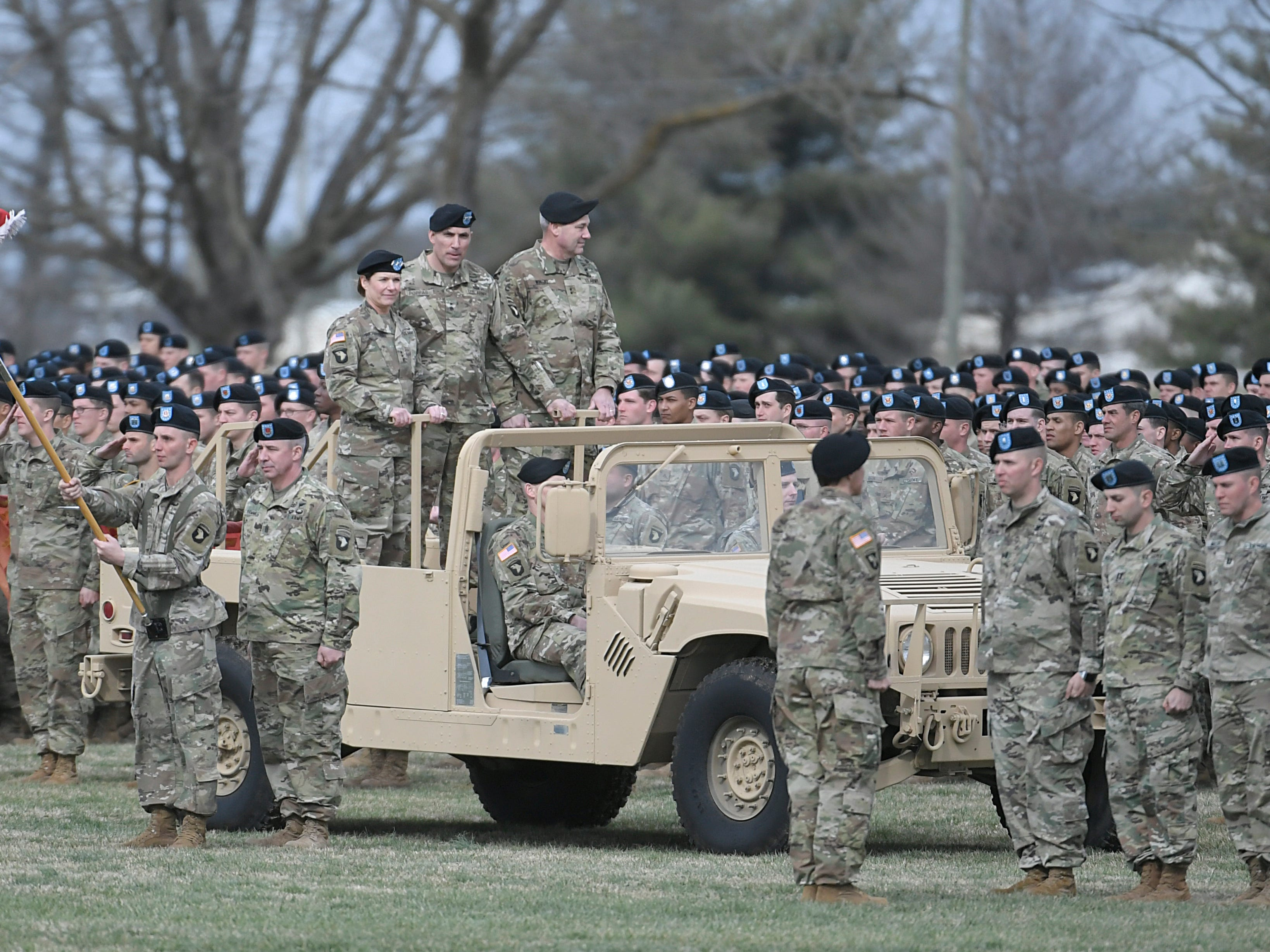 Lieutenant General Laura Richardson, Major General Andrew Poppa and Major General Brian Winski review the troops during a 101st Airborne Division (Air Assault) and Fort Campbell Division Change of Command ceremony in Fort Campbell, KY on Thursday, Feb. 14, 2019.