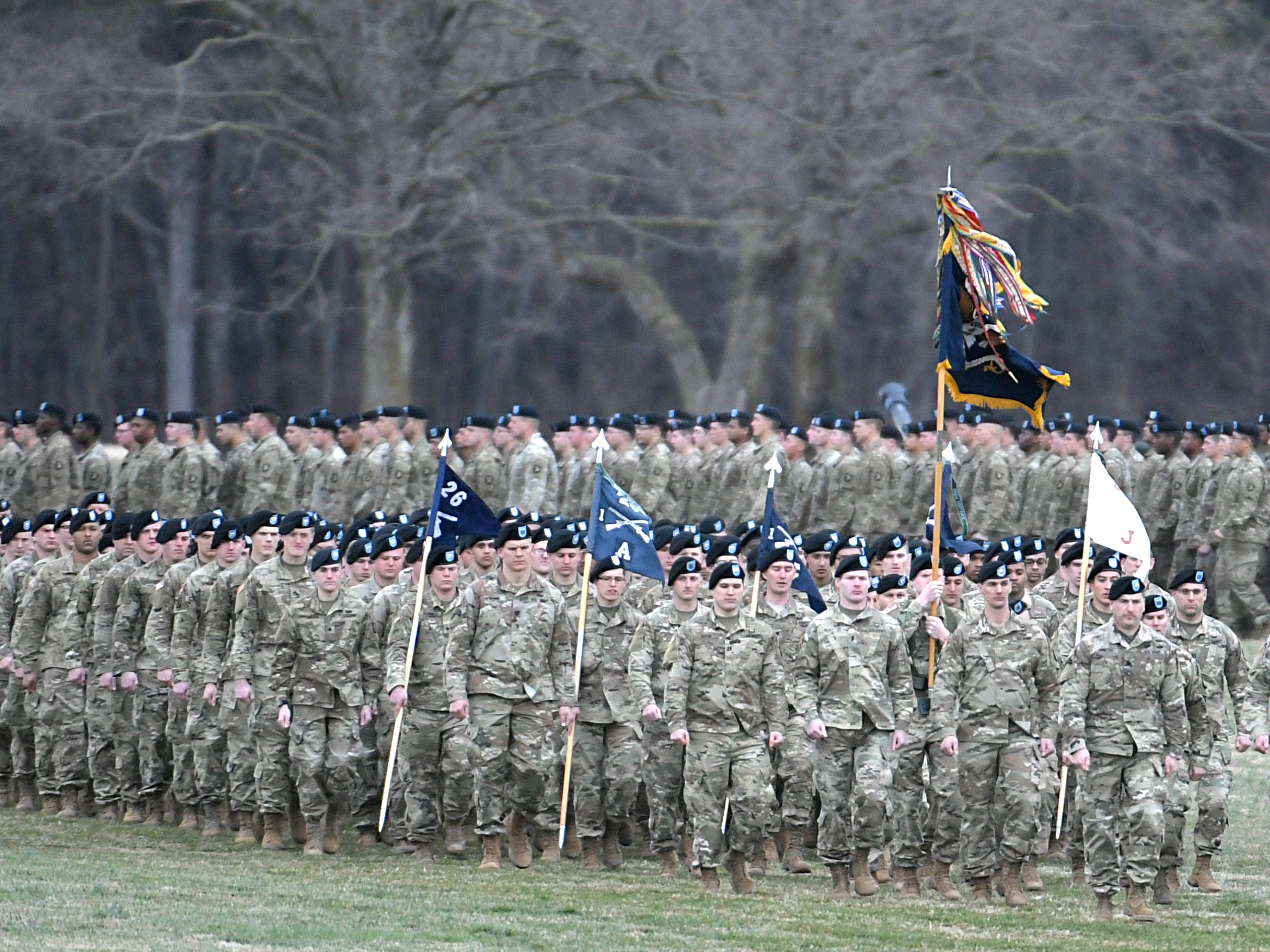 Troops march during a 101st Airborne Division (Air Assault) and Fort Campbell Division Change of Command ceremony in Fort Campbell, KY on Thursday, Feb. 14, 2019.