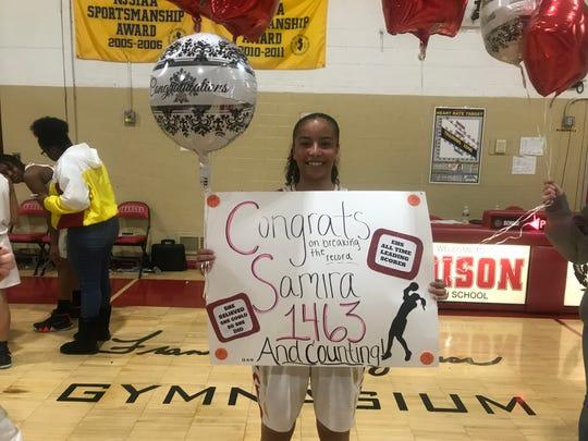 Samira Sargent became Edison's all-team leading scorer for girls basketball on Wednesday, Feb. 13, 2019.