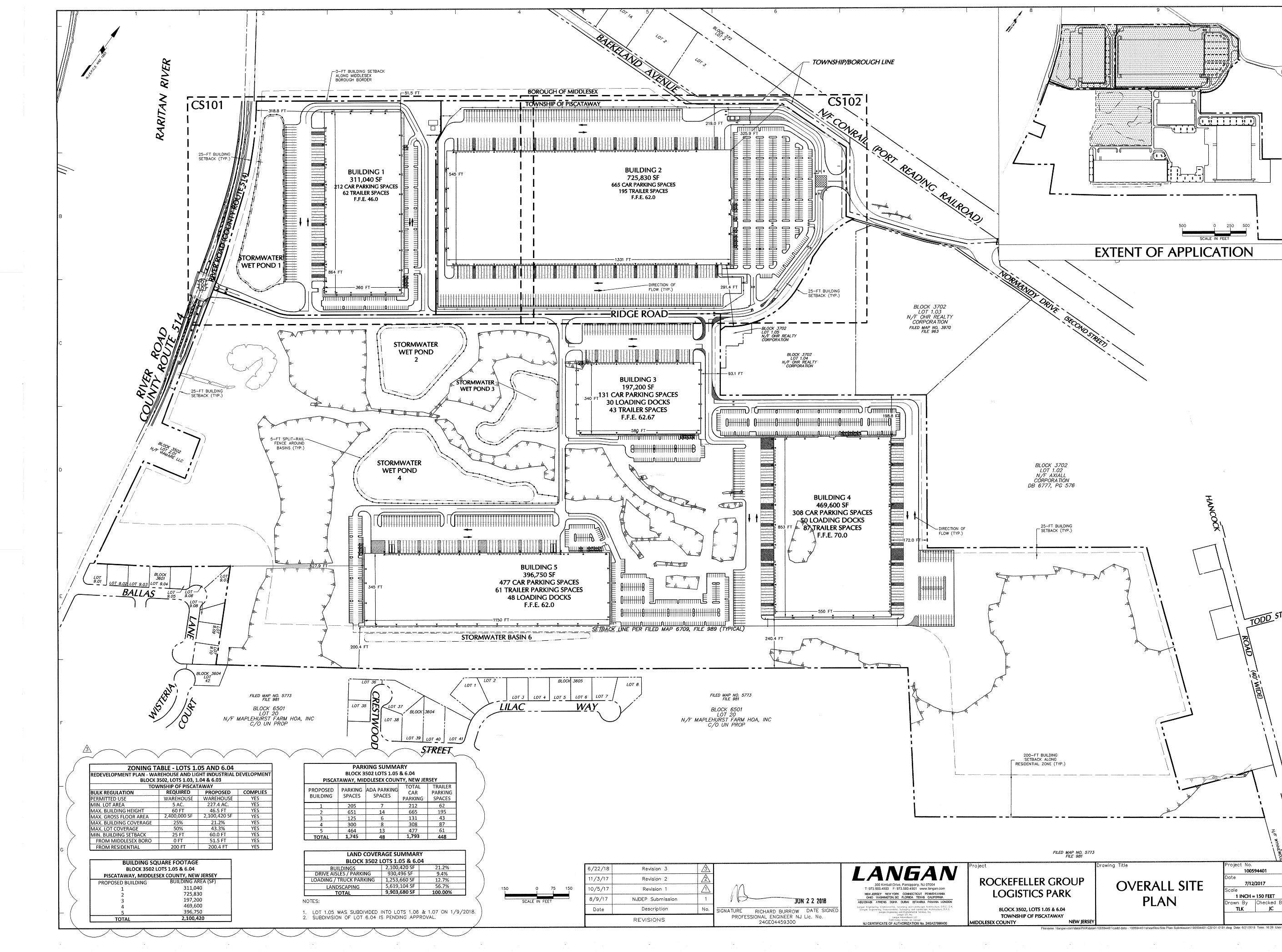 The site map for the Rockefeller Group Logistic Center on Baekeland Avenue and River Road. Tenants include Best Buy, Humanscale and Fujitsu and will include KISS cosmetics, SHI International Corp. and more to be announced.