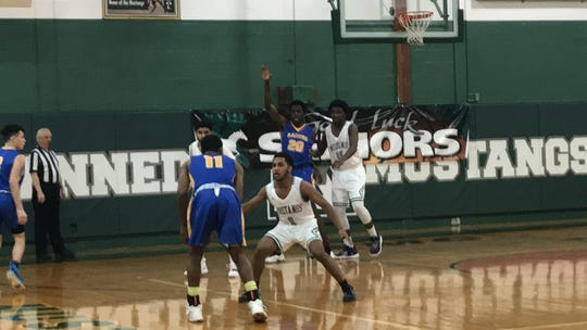 The North Brunswick boys basketball team defeated J.F. Kennedy in the GMC Tournament on Wednesday, Feb. 13, 2019.