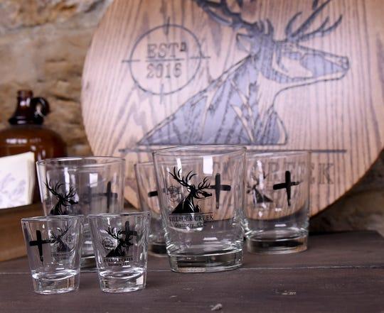 Shot and rocks glasses from Killbuck Creek Distillery in Warsaw.