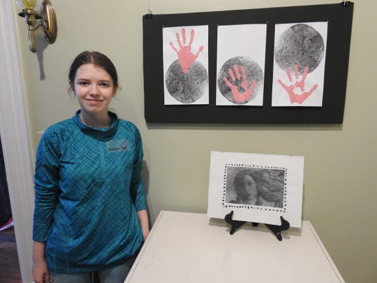 Katelyn Fick created this sketch of Venus using her own handprints as part of the concept. Her idea or elements of it could become part of a scale model representation of the planet part of the Imagine Planets projects between Coshocton High School and the Pomerene Center for the Arts.