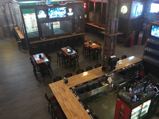 An overhead view of the pub and axe-throwing room.