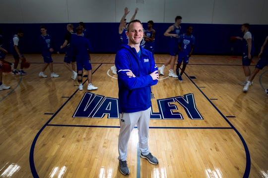 Drake Men's Basketball Coach Darian DeVries stands for a photo on Thursday, Feb. 14, 2019, in the Shivers Basketball Practice Facility on the Drake University campus in Des Moines.
