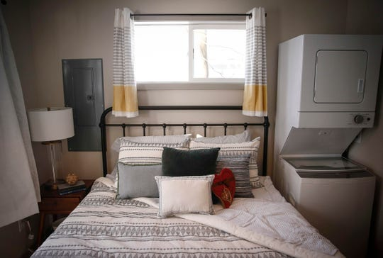 A look at the bedroom of Will Winder's new home in Des Moines on Thursday, Feb. 14, 2019, in Des Moines.
