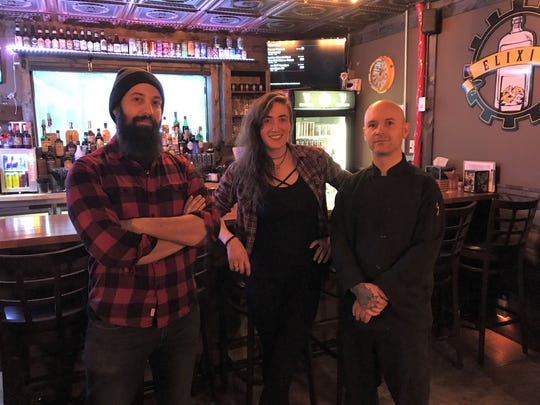 Gamemaster, Aaron Larimer, 34; Head bartender, April Clark, 31; and Chef Nick Stiles, 39 of Elixir Pub and Grub/Escape Chambers Des Moines.