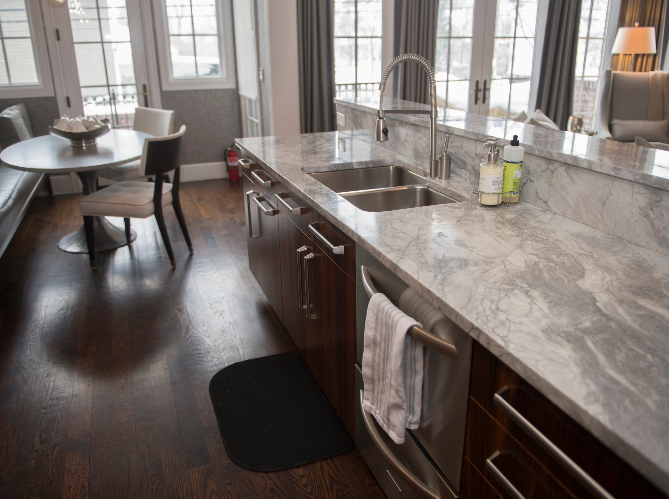 There's plenty of counter space in the kitchen, and the fire extinguisher is included.