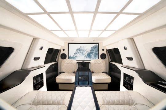 The interior of the 2019 Armored Cadillac Escalade ESV by INKAS which sells for $300,000 to $500,000