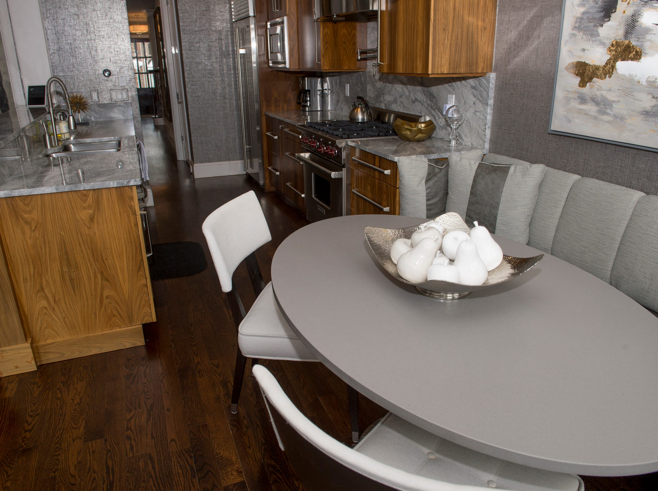 The kitchen includes a dining area and all the usual appliances.