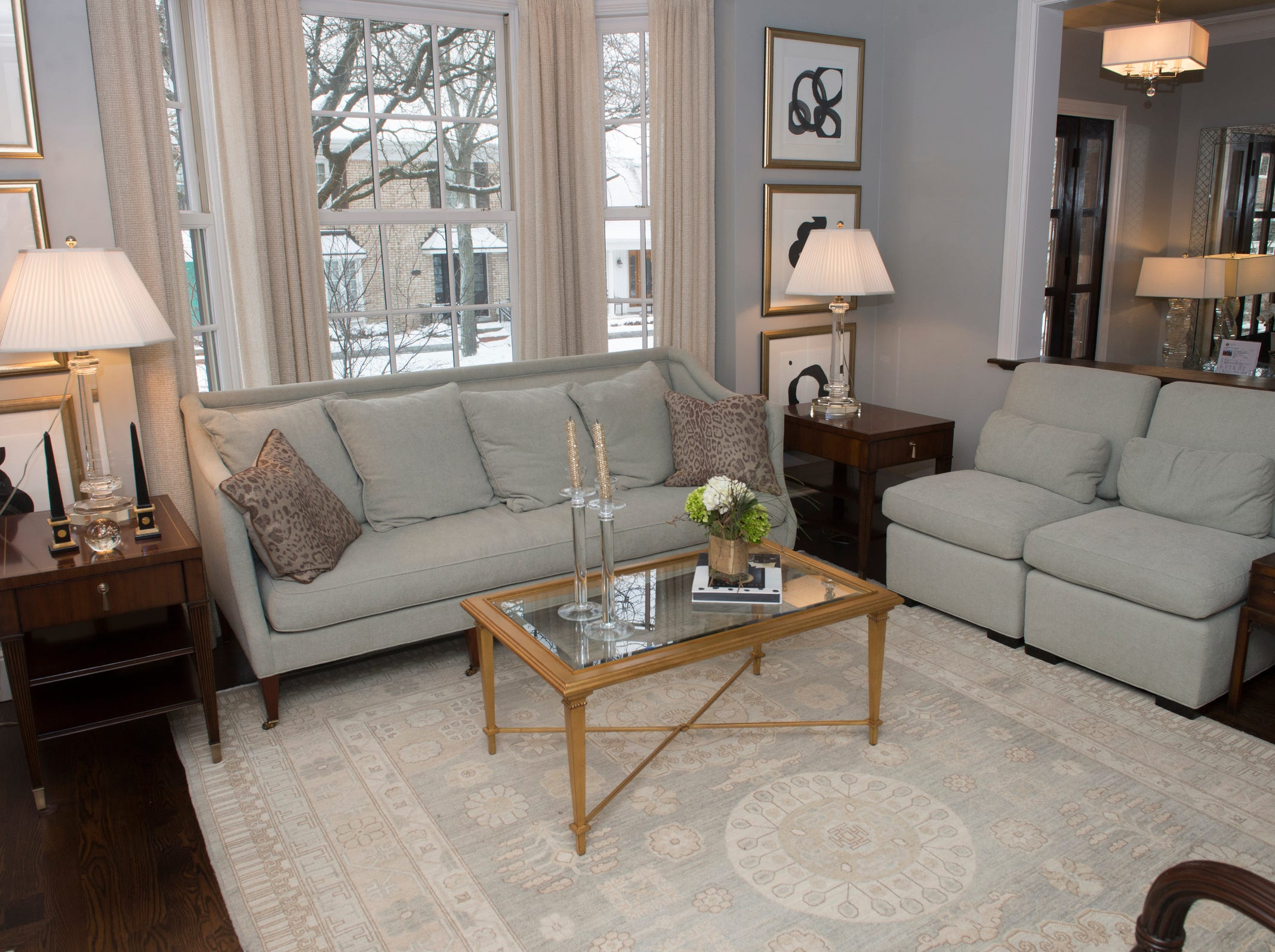 The townhouse's living room looks onto Brown Street.