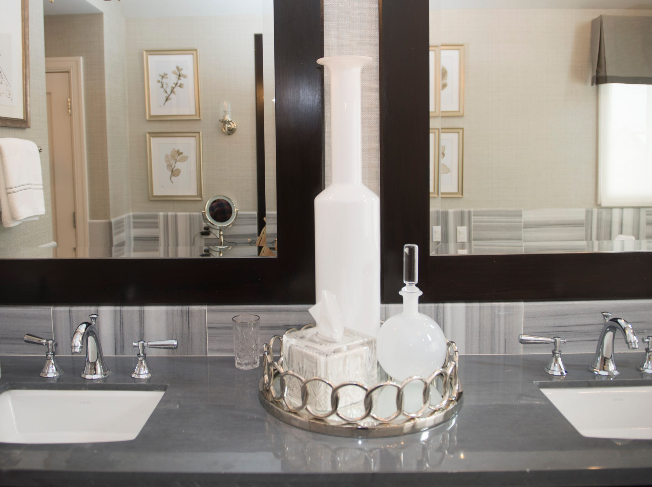 The master bathroom includes dual sinks.