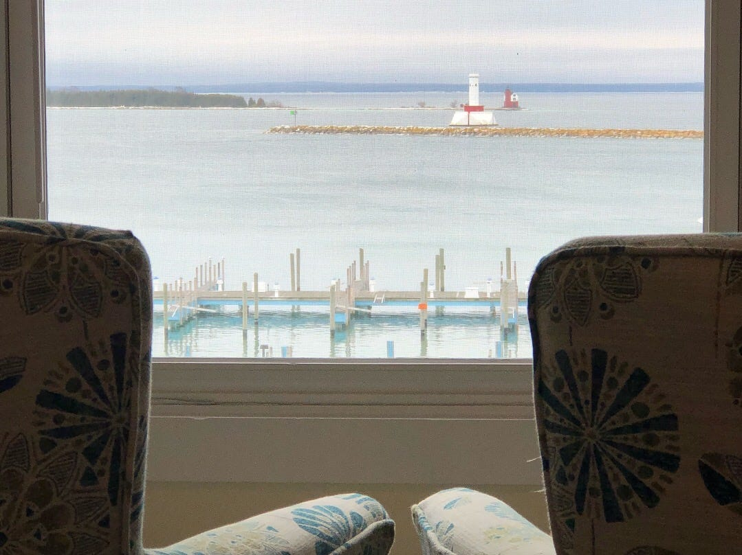 The Island House Hotel has a waterfront view and is the oldest hotel on Mackinac Island.