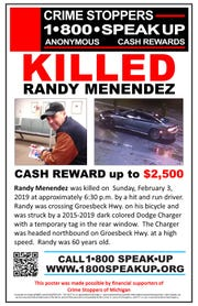 A Crime Stoppers of Michigan poster seeking information on the death of Randy Menendez, 60, of Eastpointe, who was killed by a hit-and-run driver while he was riding his bicycle Feb. 3, 2019 in Warren.