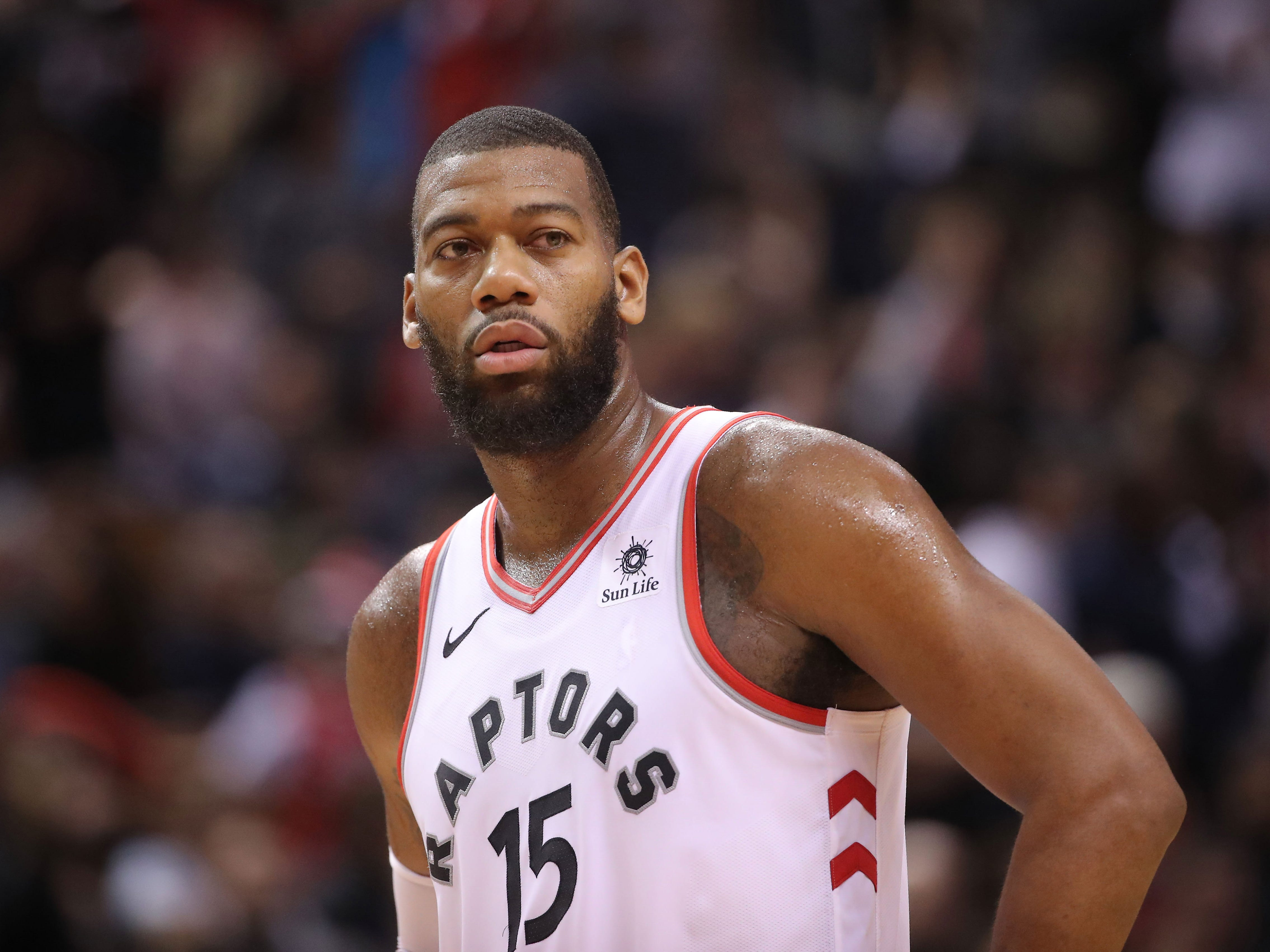 Toronto Raptors center Greg Monroe looks on against the Los Angeles Clippers in Toronto, Feb. 3, 2019.