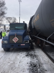 A train hit a propane truck in Mt. Clemens on Feb. 14, 2019.