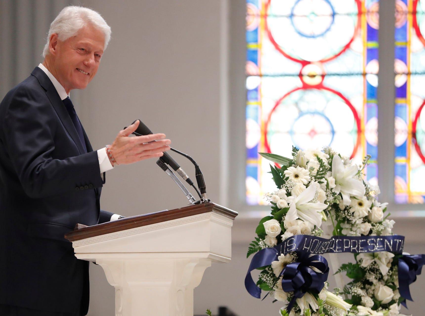 Former President Bill Clinton speaks at the funeral for former Rep. John Dingell.