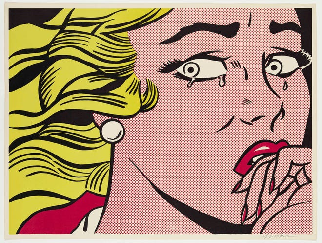"Roy Lichtenstein's 1963 ""Crying Girl,"" in ""From Camelot to Kent State"" at the DIA through Aug. 25."