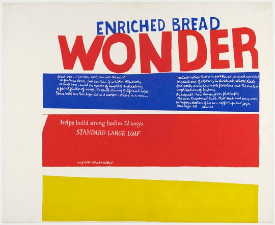 "The 1965 ""Enriched Bread"" by Corita Kent at the Detroit Institute of Arts pop-art exhibition."