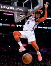 Paul George is averaging 28.7 points, eightrebounds, and 4.1 assists this season with the Oklahoma City Thunder.