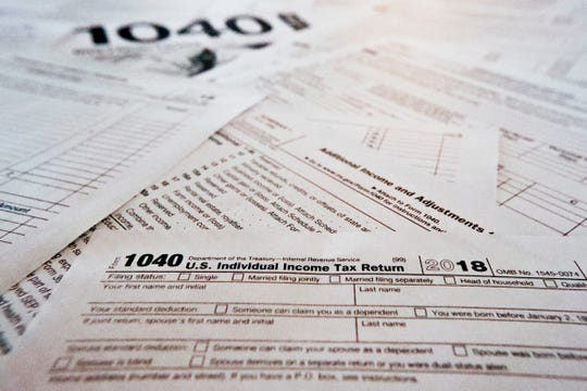 Multiple forms printed from the Internal Revenue Service web page that are used for 2018 U.S. federal tax returns.