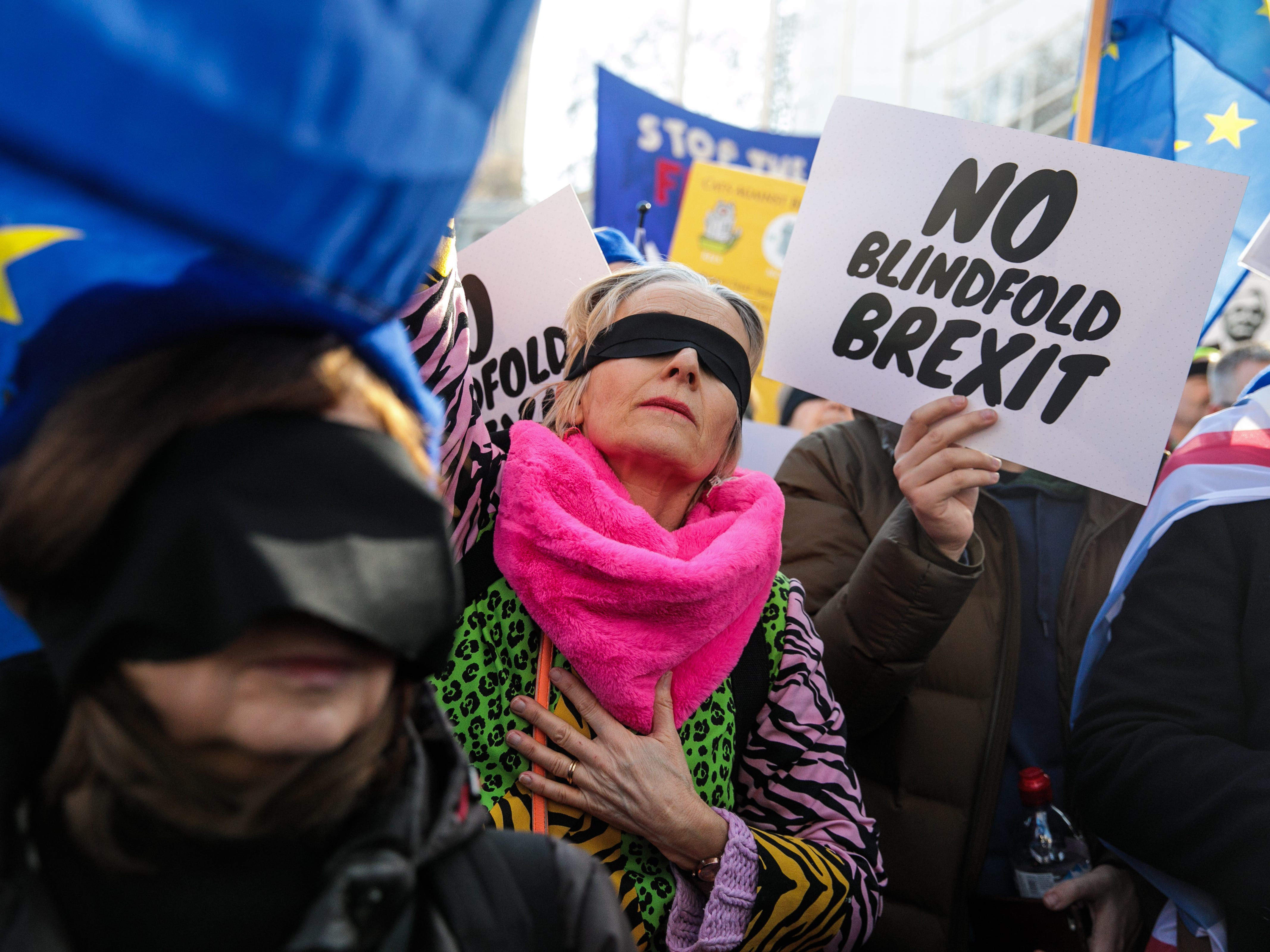 Anti-Brexit protesters demonstrate outside the Houses of Parliament on Feb. 14, 2019 in London, England. MPs are set to debate and vote on the next steps in the Brexit process later today as Prime Minister Theresa May continues to try to get her deal through Parliament.