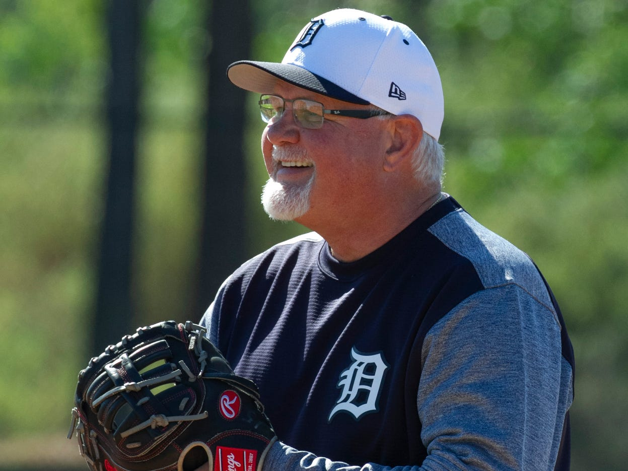 Detroit Tigers Manager Ron Gardenhire laughs as his pitchers take fielding drills.
