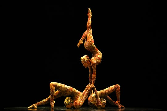 Contortionists perform during the Cirque du Soleil KOOZA on Feb. 14, 2019 in Auckland, New Zealand.