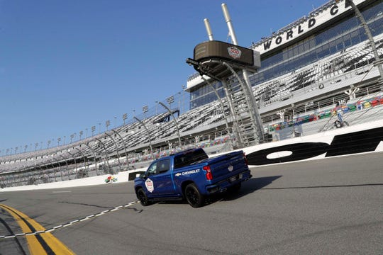 The Chevy Silverado pace truck, driven by Dale Earhardt, Jr., at the start-finish line of the Daytona 500. The 500 is the first NASCAR race of 2019.