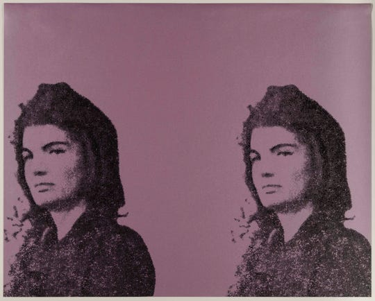 """Andy Warhol's 1966 """"Jackie II,"""" in the DIA show, """"From Camelot to Kent State: Pop Art, 1960-1975."""""""
