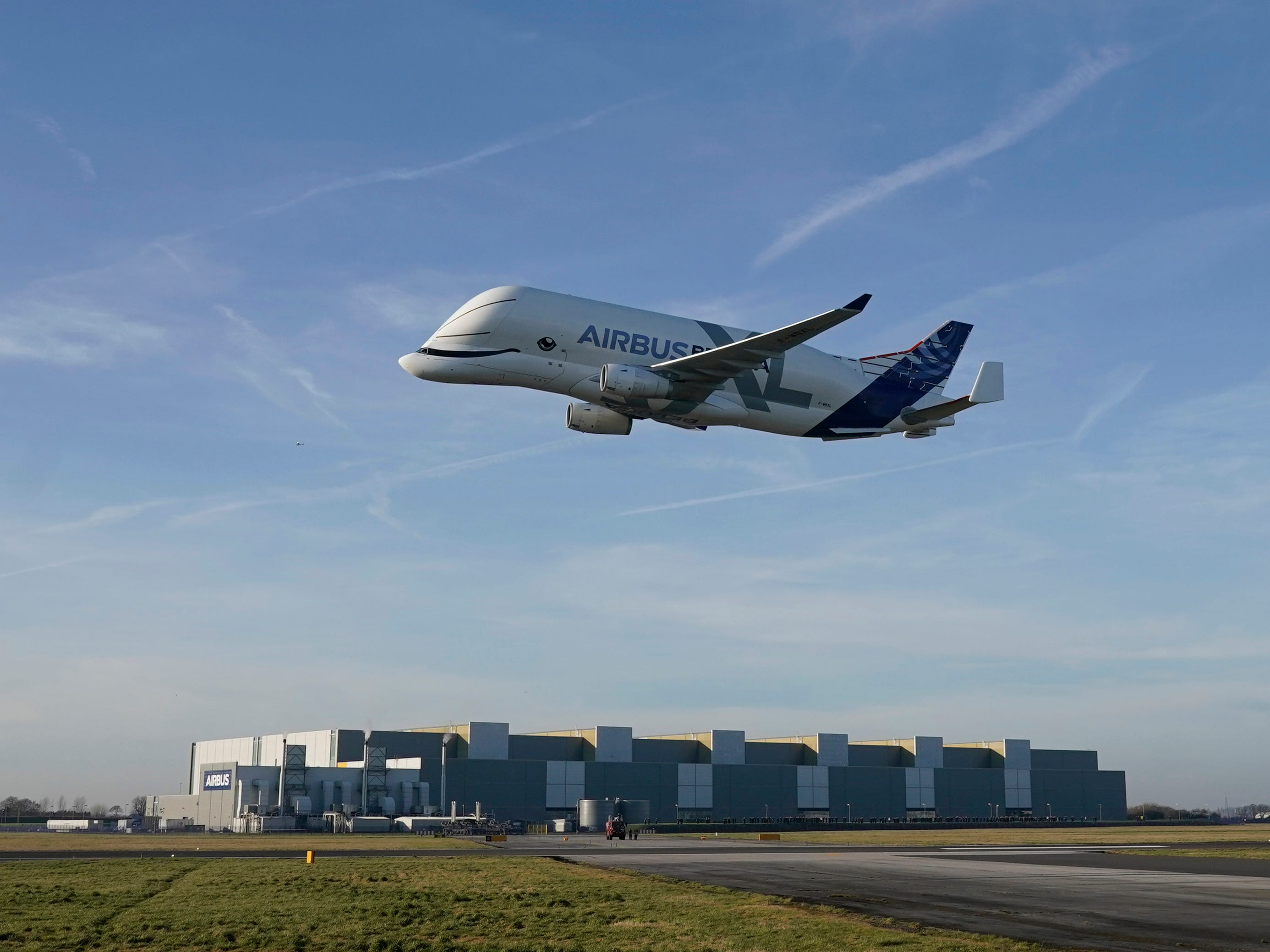 A new Airbus Beluga XL which is making its maiden flight to the UK comes in to land at Airbus Broughton wing assembly plant on Feb. 14, 2019 in Broughton,  United Kingdom.  Airbus has also announced that it will cease to manufacture it's unprofitable A380 passenger jet.