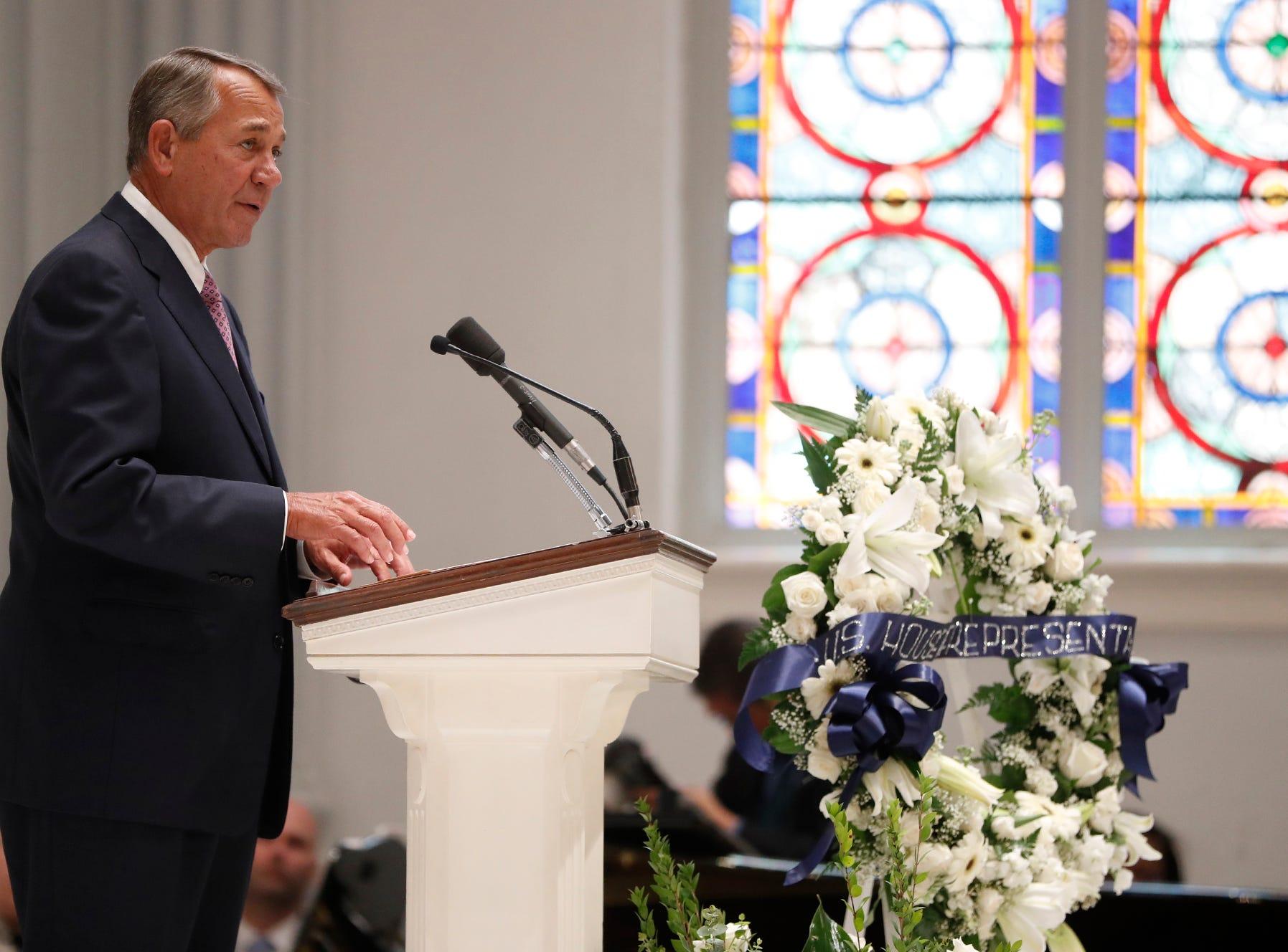 Former House Speaker John Boehner addresses the funeral for former Rep. John Dingell.