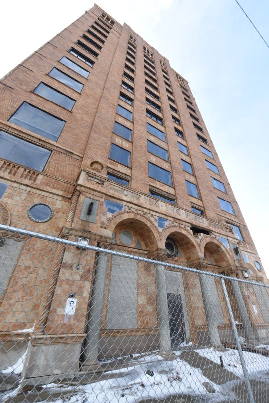 180 residential units and retail are planned for the long-vacant Lee Plaza tower near New CenterDetroit. The vacant building is seen here on Thursday, February 14, 2019.