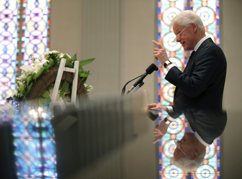 Former President Bill Clinton speaks at the funeral for former Rep. John Dingell, D-Dearborn, at Holy Trinity Church, Thursday, Feb. 14, 2019 in Washington.
